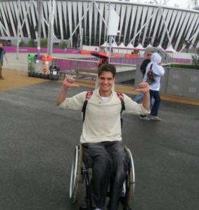 Sports fan Alex at the London 2012 Olympics