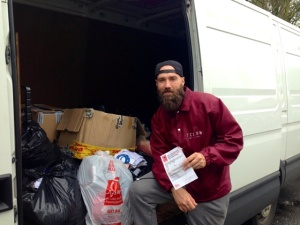 Calum Best donates to Clapham Junction BHF shop