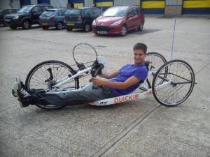 Alex getting measured for his handcycle