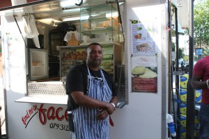 Jeff the Chef next to his Brixton Market stall