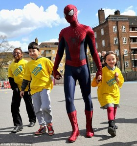 Andrew Garfield visited the kids earlier this year clad in his spiderman costume